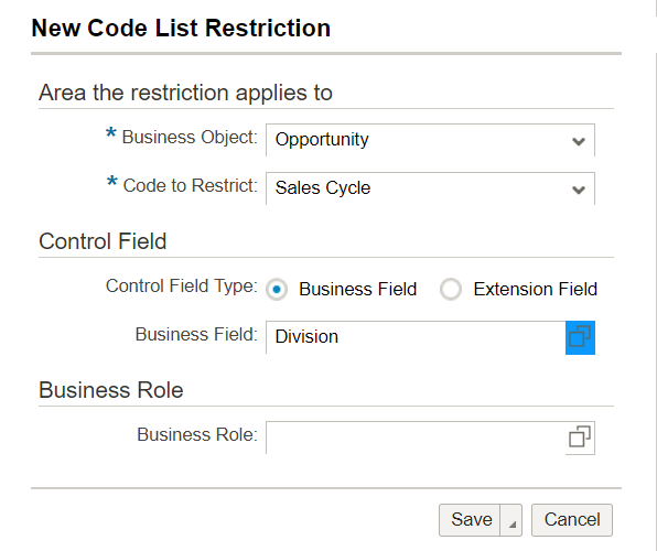 Code List Restrictions on Opportunity